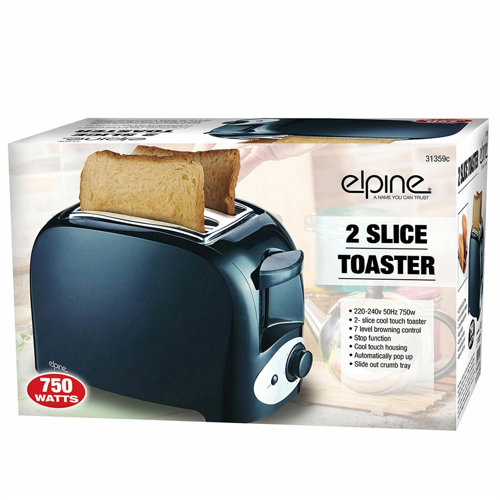 New Cool Touch 750w Two Slice Toaster Bread Automatically Pop Up UK Plug Black