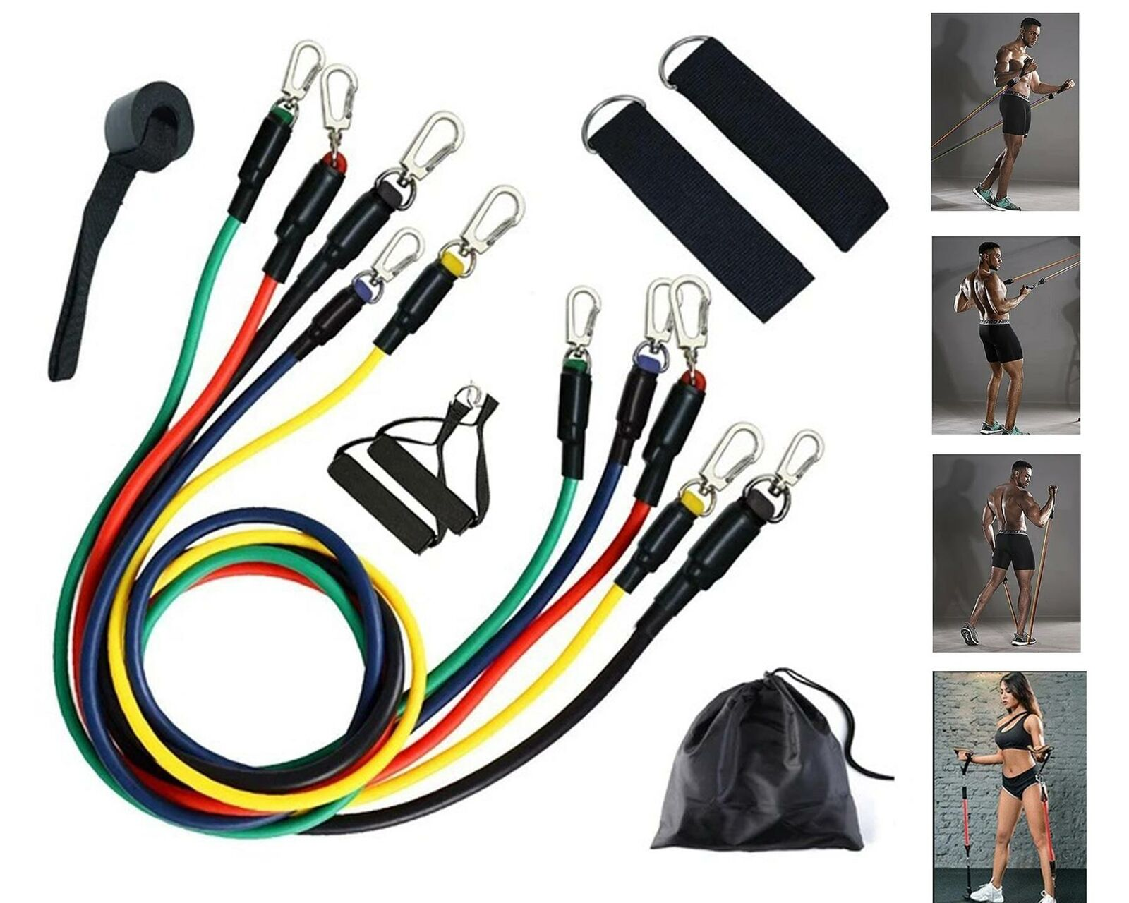 11Pcs Resistance Exercise Bands Set Workout Yoga Fitness Crossfit Training Home