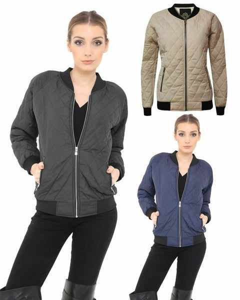New Ladies Women Bomber Quilted Padded Puffer Zip Pocket Puffa Coat Jacket Top