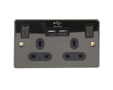 Black Nickel Double Gang UK power socket with Twin USB Charging Sockets 2.4 Amp