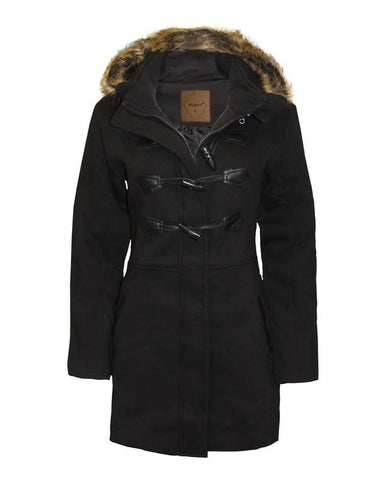 Ladies Women's Detachable Hooded Parka Fur Trim Wool Coat Toggle Button Jacket