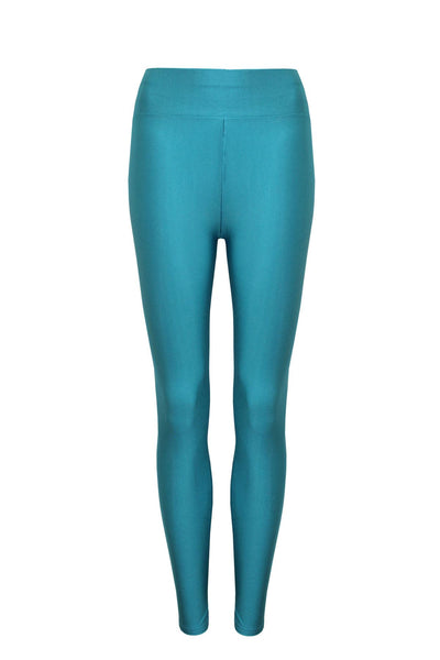New Ladies Sexy Shiny Stretchy Disco High Waist Leggings Long Pants UK Size 8-14