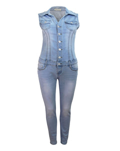 LADIES WOMENS POCKETS BUTTON DENIM OVERALL BIB JUMPSUIT COLLAR JEANS DRESS 6-14