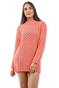 New Ladies Women Knitted Long Sleeve Cable Knit Jumper Stretch Dress Top Sweater