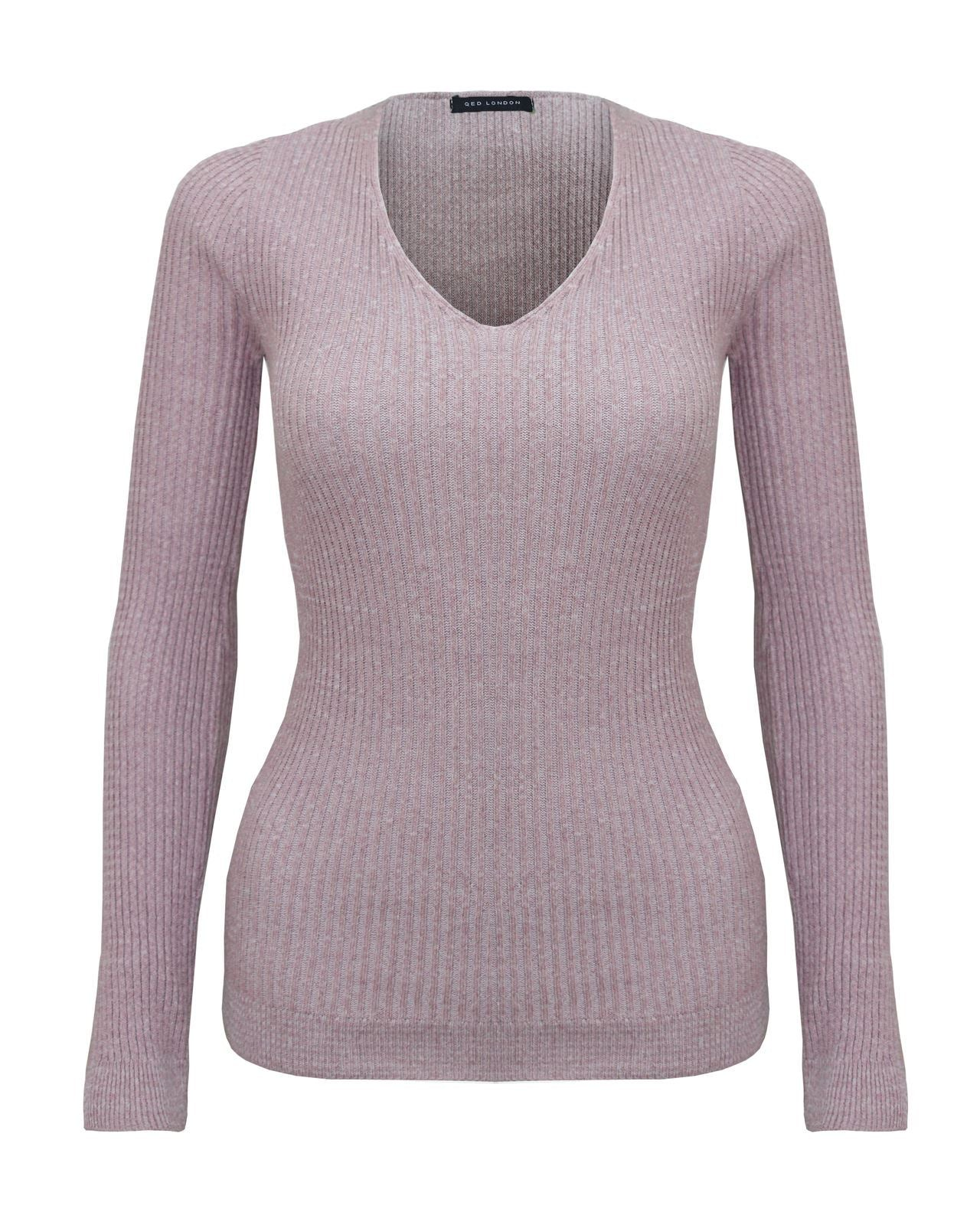 New Ladies Knitted Long Sleeve Vneck Jumper Petite Women Sweater Ribbed Top 8-14