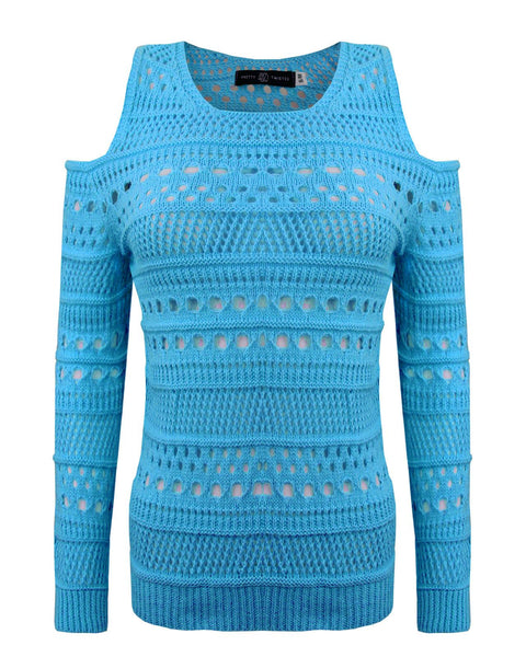 Ladies Womens Knitted Jumper Shoulder Cutout Long Sleeves Holey Knit Top Swaeter