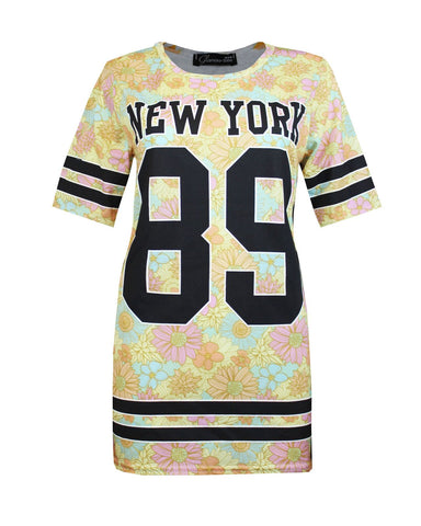LADIES WOMENS 89 NEWYORK PRINTED CREW NECK SHORT SLEEVES TOP SHIRT JUMPER 8-14