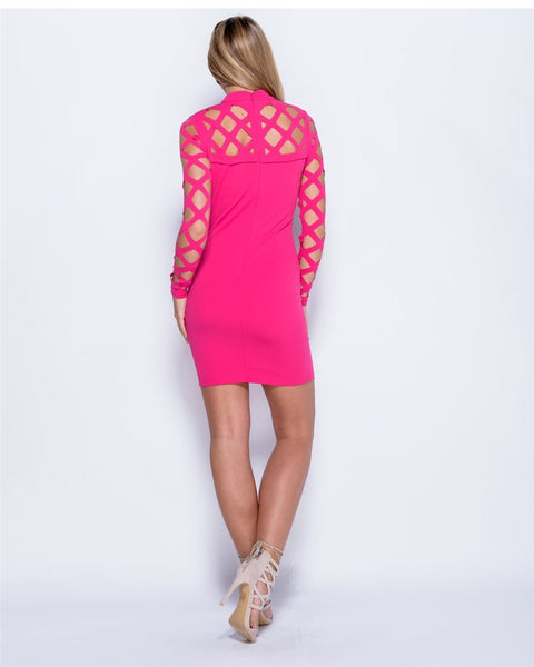 Women Ladies Caged Laser Cut Out Bodycon Long Sleeve Mini Bandage Evening Dress