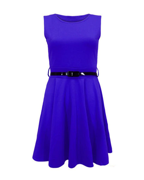 LADIES WOMENS BELTED FLARED SHORT MINI PLEATED SLEEVELESS  SKATER DRESS TOP 8-14