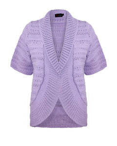 Ladies Womens Knitted Blazer Shrug Short Sleeves Open front Cardigan Top Jumper