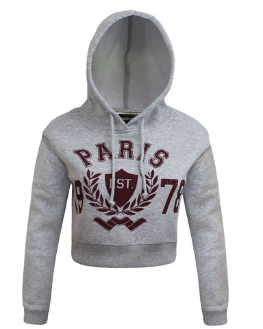 Ladies Women Paris 1978 Long Sleeve Crop Top Hoodie Jumper Grey Sweatshirt 8-14