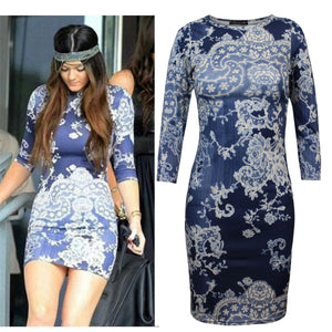 New Ladies Women Printed Floral ¾ Sleeve Bodycon Midi Party Dress Top 8 10 12 14