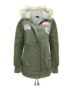 Ladies Womens Faux Fur Hooded Parkas Military Jacket Patches Coat 8 10 12 14 16
