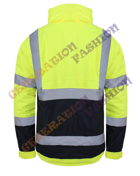 HI VIZ VIS WATERPROOF SAFETY WORKWEAR COAT TWO TONE REFLECTIVE BOMER JACKET 8-20