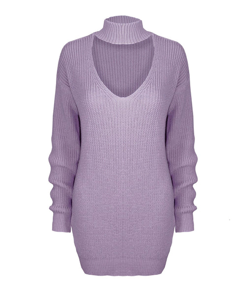 New Ladies Women Knitted Long Sleeve Choker Neck Colour Jumper Top Sweater 8-18