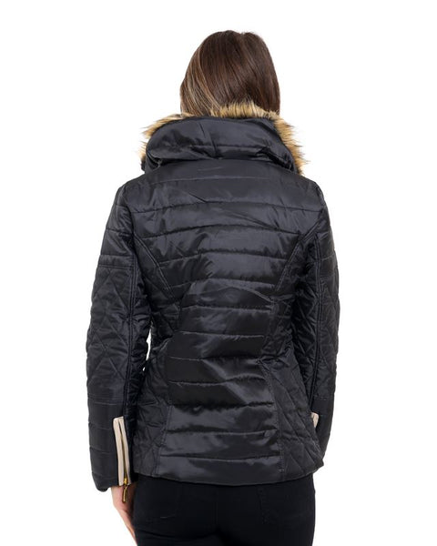 Ladies Womens Faux Fur Collar Quilted Padded Jacket Button Zip Coat Size 8-14