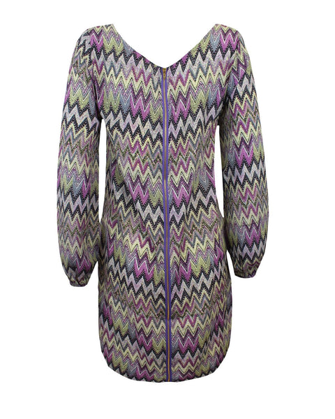 New Ladies Women Elasticised Cuff Long Sleeves Purple ZigZag Swing Dress Top