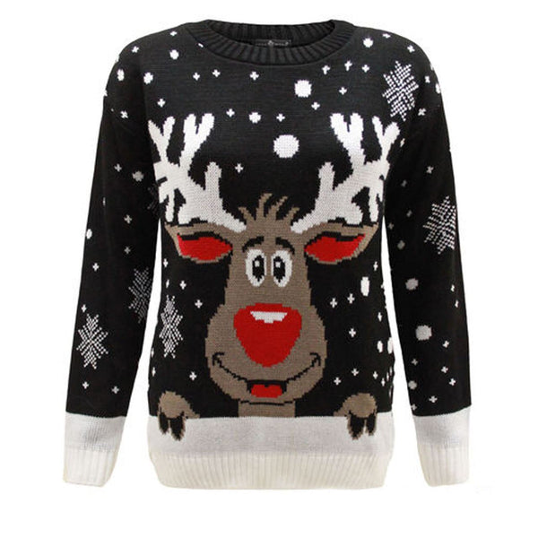 Kids Girls Boy Knitted Reindeer Rudolf Christmas Xmas Novelty Jumper Sweater Top