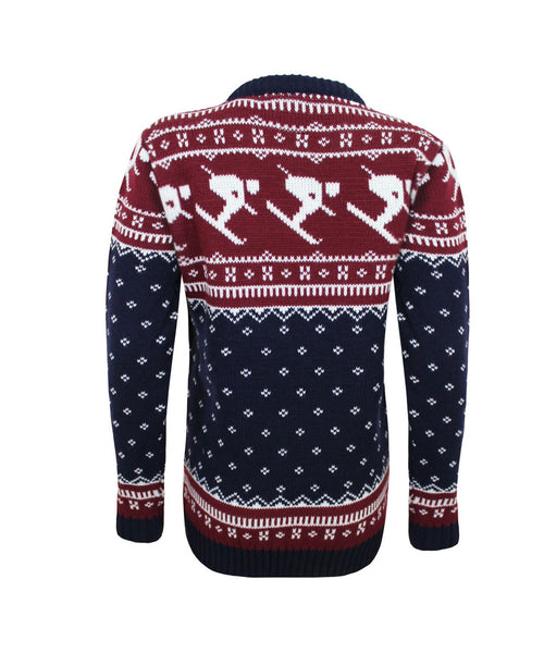 Crew Neck Knitted Long Sleeve Christmas Xmas Men Jumper Fairisle Ski Top Sweater