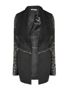 Ladies Women Sequin Sleeve Coat Detachable Bottom Black Jacket Top Size S M L Xl