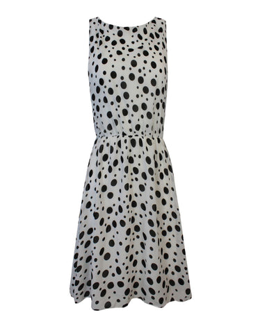 New Ladies Women Sleeveless Polka Dot Detail Swing Skater Short Dress Top 8-12