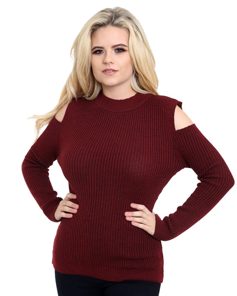 Knitted Cold Shoulder Ladies Women Long Sleeve Ribbed Jumper Shoulder Cutout Top