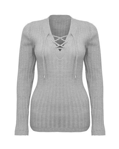 Women Ladies Knitted Tie Lace Up VNeck Ribbed Shirt Stretched Jumper Top Sweater
