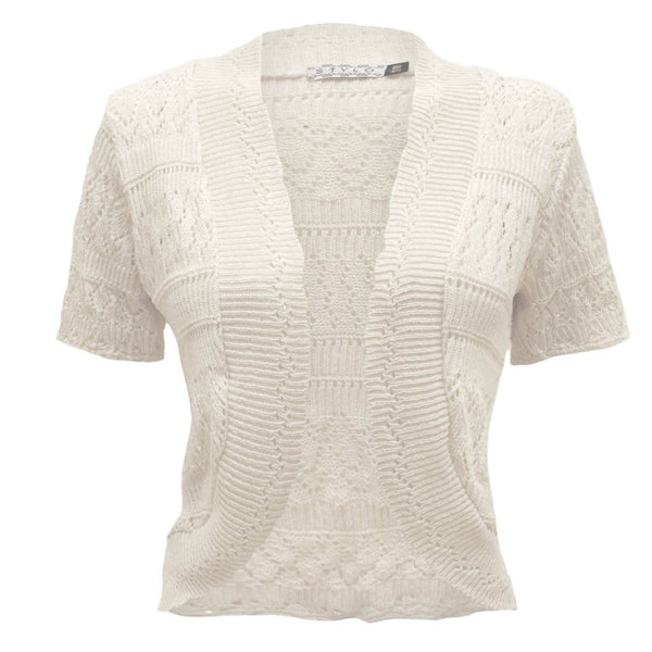 New Ladies Crochet Knitted Bolero Shrug Cardigan Womens Cropped Dress Top 8-14
