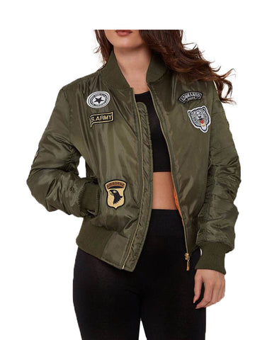 Ladies Women US ARMY Comando Patch MA-1 Bomber Biker Jacket WINTAGE Classic COAT
