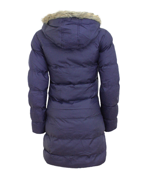 Ladies Women Detachable Faux Fur Hood Quilted Padded Puffer Parka Coat Jacket