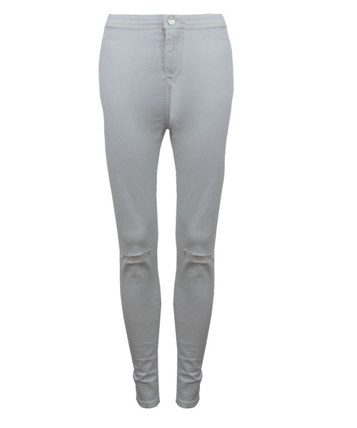 Ladies Womens Ripped Knee Skinny Jeans Faded Slim Fit Denim Size 6 8 10 12 14 16