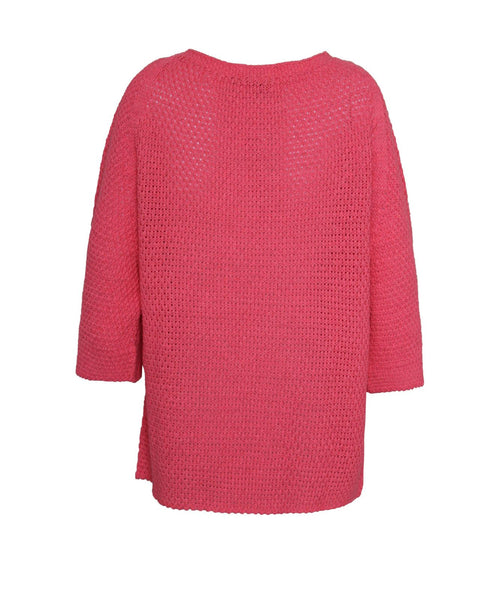 Ladies Women Crew Neck Batwing Short Sleeve Holey Knit Fisherman Jumper Top 8-14