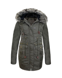 LADIES WOMENS LONG SLEEVES FUR HOOD POCKET BUTTON ZIP MILITARY PARKA JACKET COAT