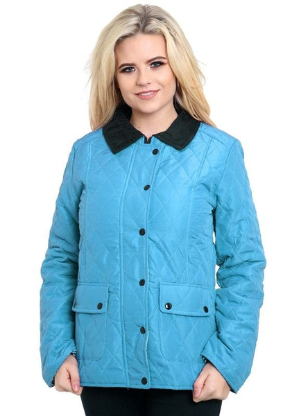 Ladies Womens Long Sleeve Quilted Padded Button Zip Top Jacket Coat Plus Sizes