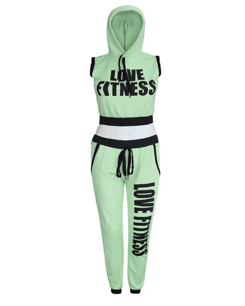 New Ladies Women LOVE FITNESS Gym Yoga Hooded 2pcs Tracksuit Jogging Set UK 8-14