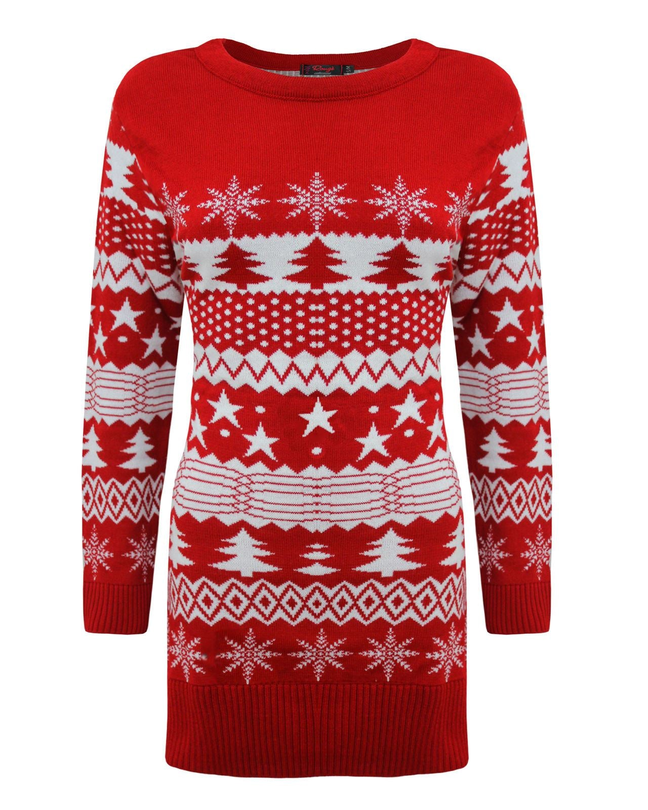 Ladies Womens Knitted Christmas Xmas Tree Fairisle Novelty Jumper Top Dress 8-16