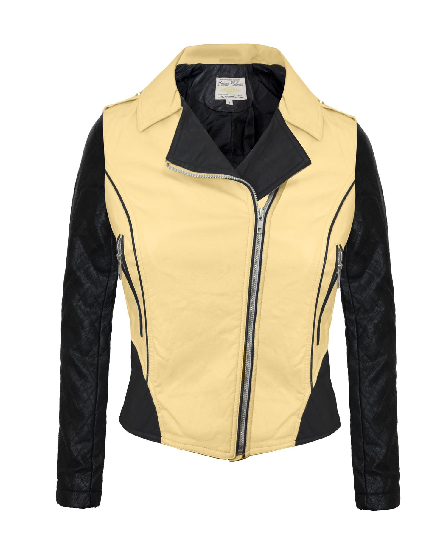 Ladies Women Pvc Pu Faux Leather Two Tone Bomber Biker Collar Jacket Side Zip