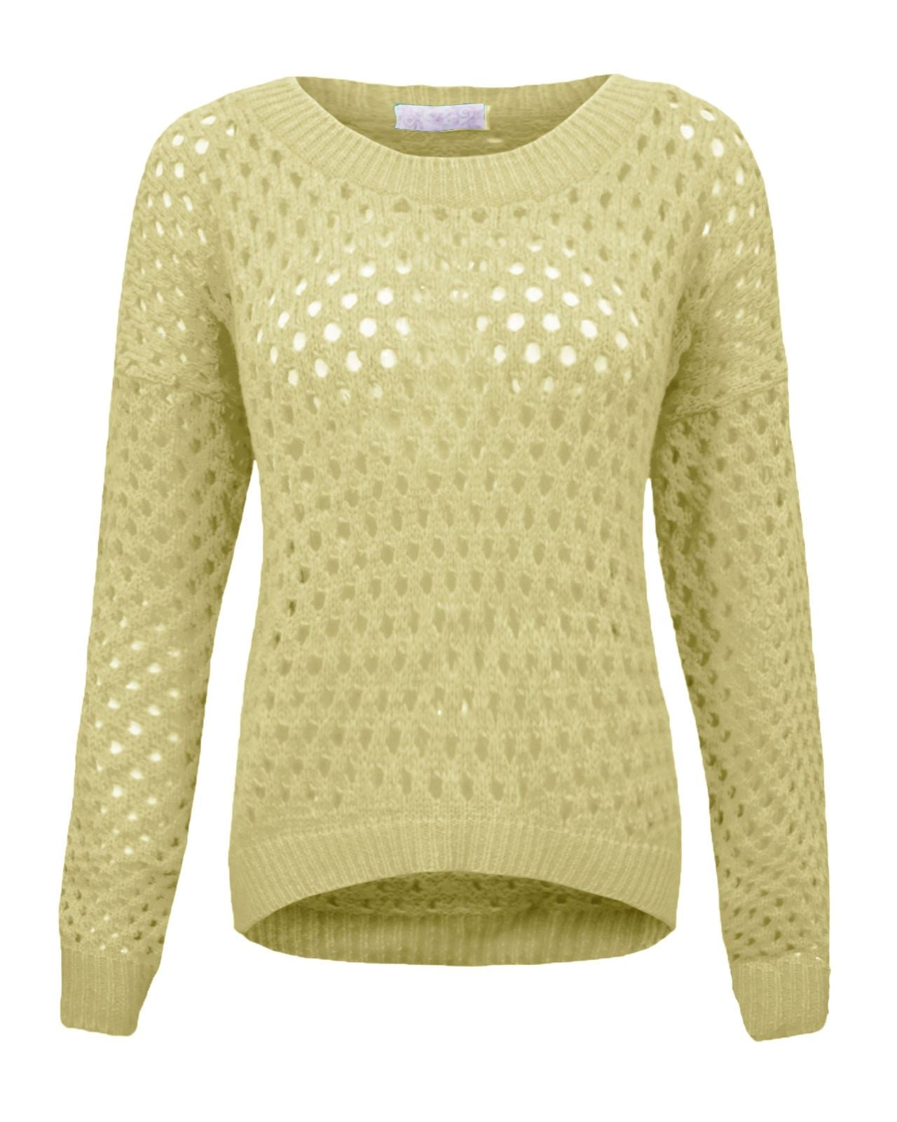 Ladies Womens Holey Knit Jumper Stretch Sweater Crew Neck Long Sleeves Top 8-14