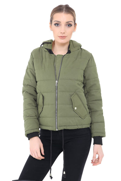 Long Sleeve Quilted Puffer Padded Hooded Warm Bubble Ladies Women Coat Jacket