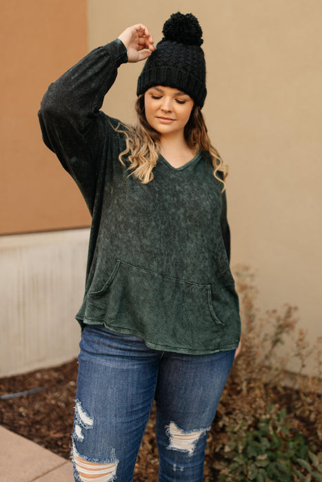 A Cozy Hooded Top in Hunter Green