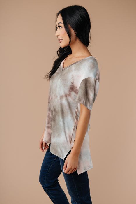Forgotten Dreams Tie Dye Top In Taupe