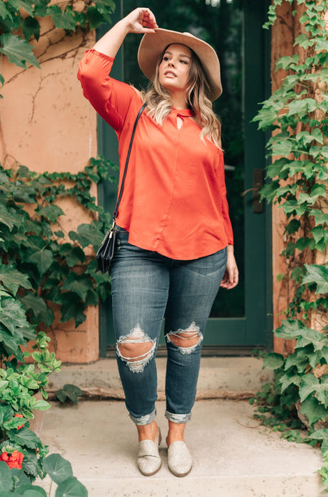 Hot Then Cold Blouse In Pumpkin