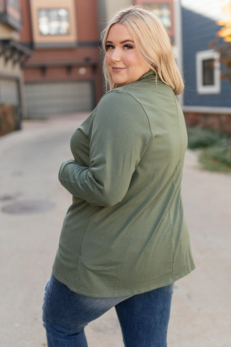 Plain Jane Turtle Neck Top in Cargo