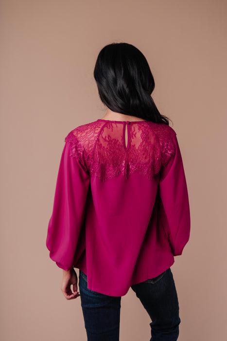 Straight Laced Blouse In Berry
