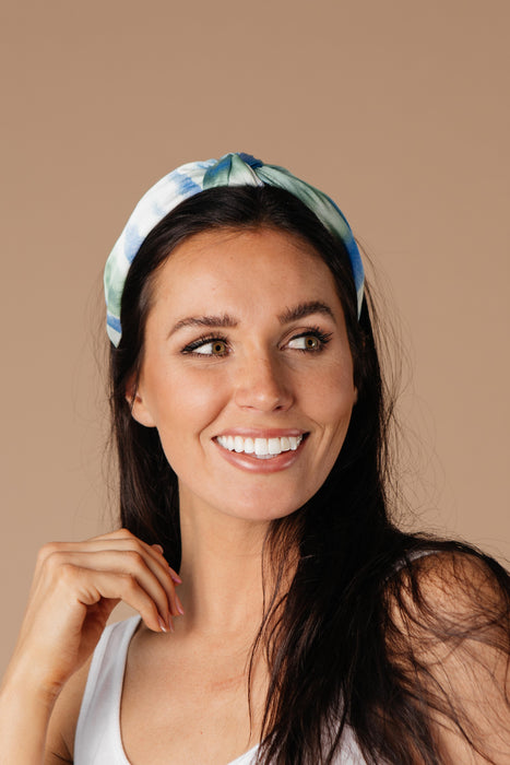 Tie Dye The Knot Headband In Blue & Green