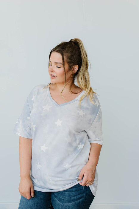 Cloudy With A Chance Of Stars V-Neck In Blue