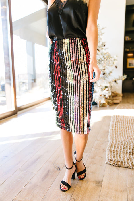 Sequin Kaleidoscope Striped Pencil Skirt