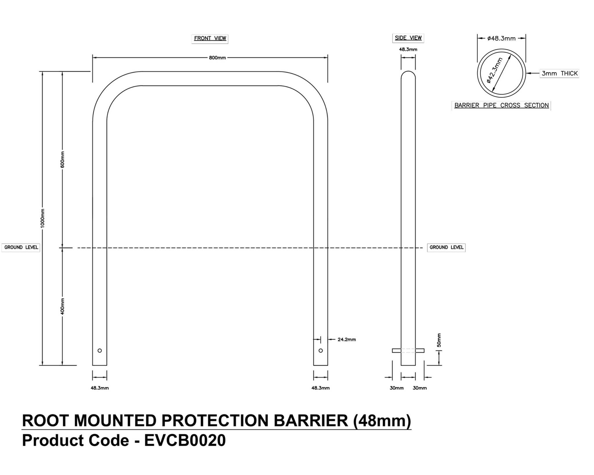 EV Charging Pedestal Protection Barrier (root mount)