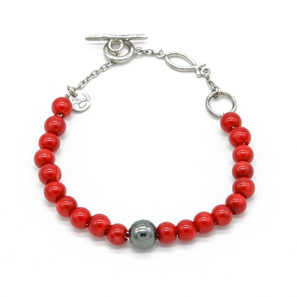 Unique Red Bamboo Coral Bracelet - halibutgioielli