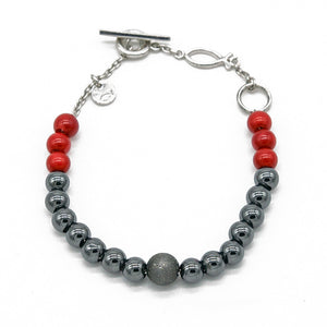 Unique Hematite & Red Bamboo Bracelet - halibutgioielli
